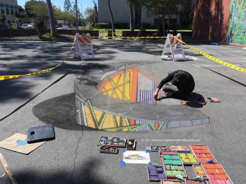 ACappetto at work for 3D chalk art portion Garden Grove_8521wm